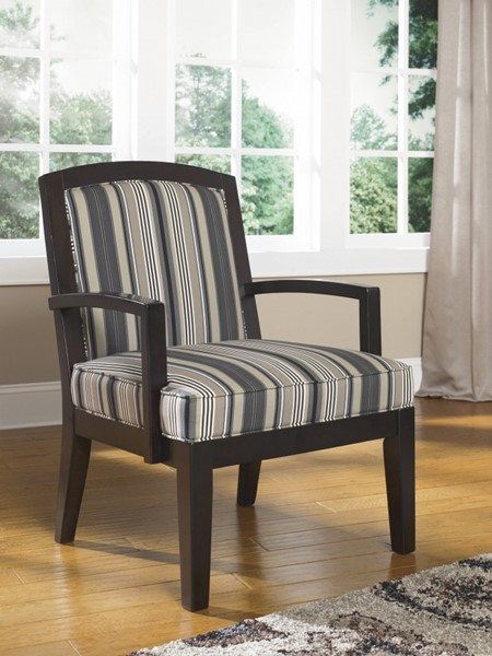 Yvette Casual Black Fabric Wood Accent Chair 7790060