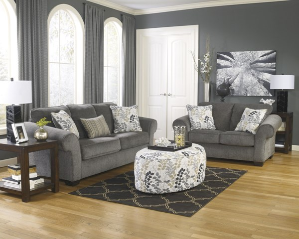 Makonnen Winter Charcoal Polyester 3pc Living Room Set 78000-LR-S1