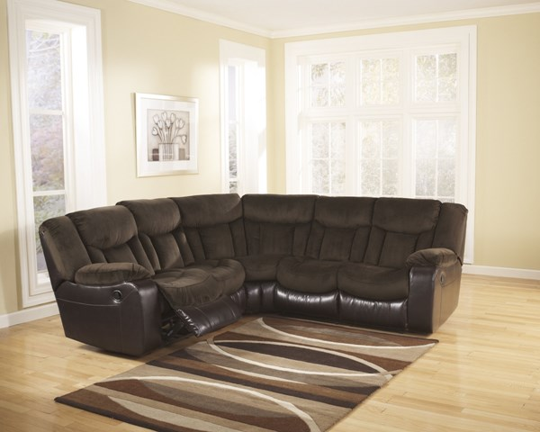 Tafton Contemporary Java Fabric LAF Reclining Loveseat 7920248