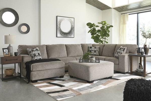 Ashley Furniture Ballinasloe Platinum Left Side Chaise Sectional With Ottoman 80702-SEC4