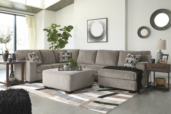 Ashley Furniture Ballinasloe Platinum Right Side Chaise Sectional With Ottoman 80702-SEC3