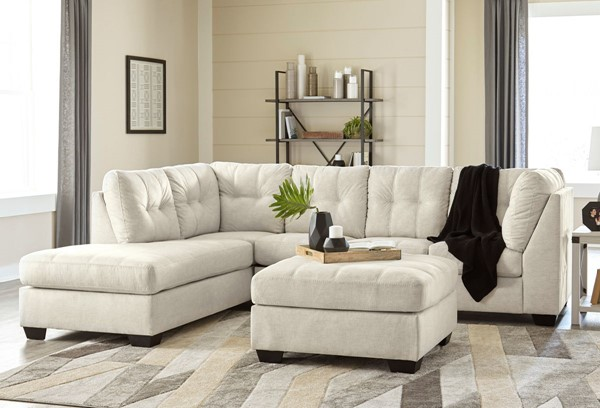 Ashley Furniture Falkirk Parchment Fabric 3pc Sectional With LAF Chaise 80806-SEC-S3