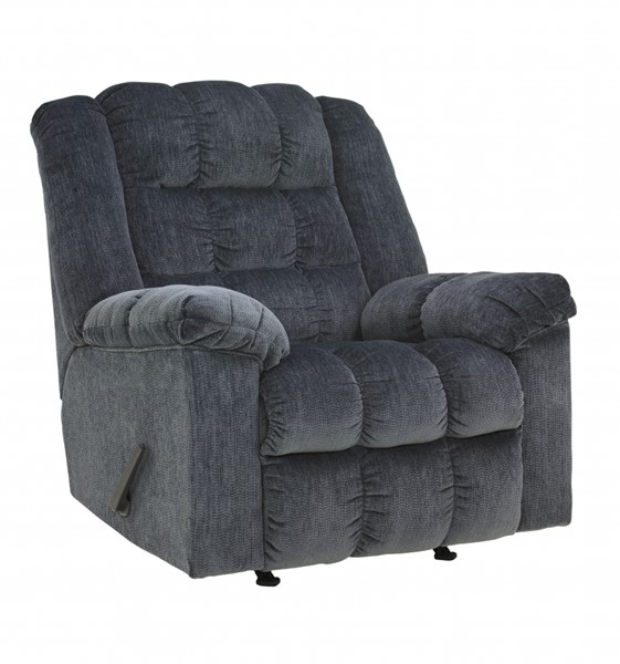 Ludden Contemporary Blue Fabric Power Rocker Recliner 8110598