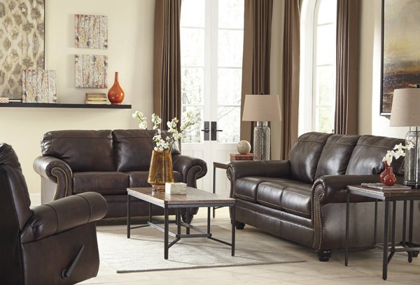 Bristan Traditional Walnut Saddle Faux Leather 3pc Living Room Set 82202-LRS