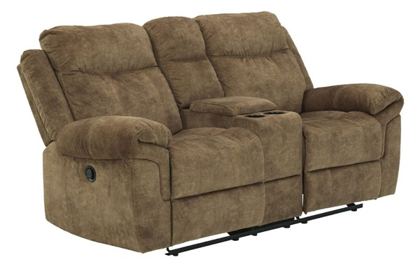 Ashley Furniture Huddle Up Nutmeg Double Recliner Loveseat With Console 8230494
