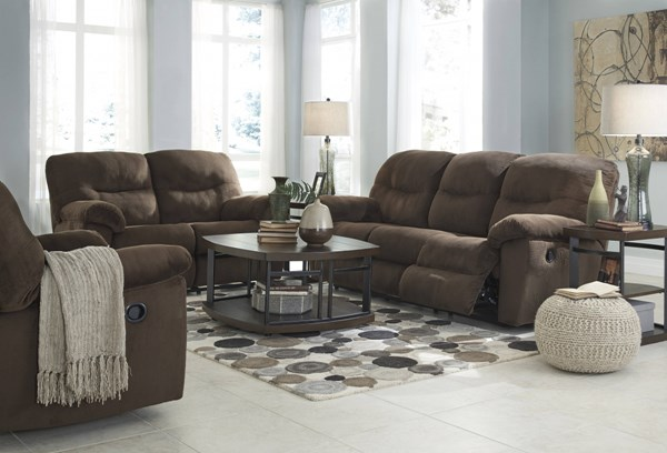 Slidell Contemporary Chocolate Fabric Wood Living Room Set SLIDELL-LR-BNDL