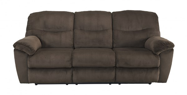 Slidell Contemporary Chocolate Fabric Reclining Sofa 8270288