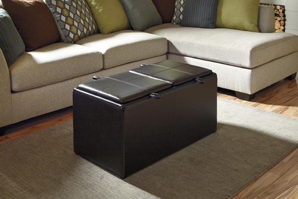 Casheral Contemporary Linen Ottoman With Storage 8290111