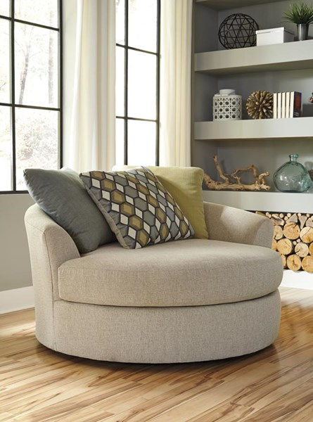 Casheral Contemporary Linen Oversized Swivel Accent Chair
