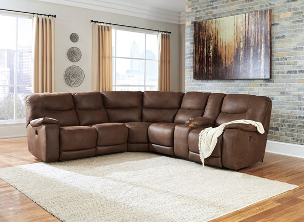 Longview Contemporary Brown Faux Leather Fabric Sectionals 83601-SEC-VAR2