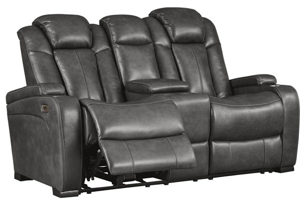 Ashley Furniture Turbulance Quarry Power Reclining Loveseat With Console And Adjustable Headrest 8500118