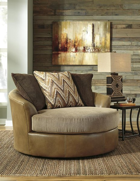 Declain Contemporary Sand Oversized Swivel Accent Chair 8630221