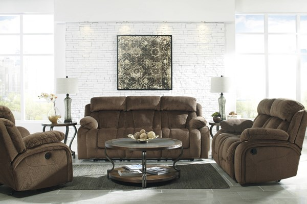 Stricklin Contemporary Chocolate Fabric Cushion Back Living Room Set STRICKLIN-LR-BNDL