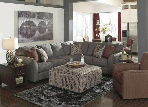 Doralin Contemporary Steel Fabric Living Room Set w/Sectional 86800-LR-S
