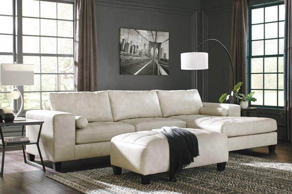 Ashley Furniture Nokomis Off White Raf Chaise And Ottoman