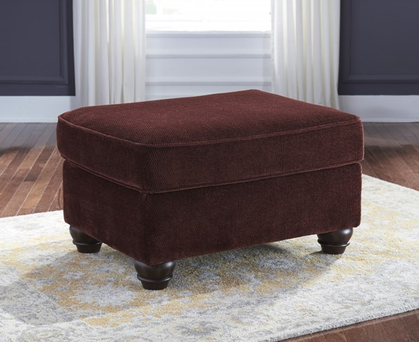 Chesterbrook Traditional Classics Burgundy Fabric Ottoman 8810214