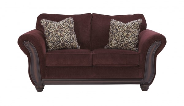 Chesterbrook Traditional Classics Burgundy Fabric Wood Loveseat 8810235