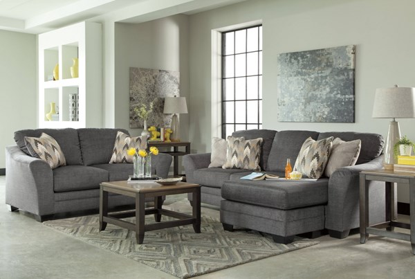 Braxlin Charcoal Fabric Wood Contemporary Charcoal 2pc Living Room Set BRAXLIN-LR-S1
