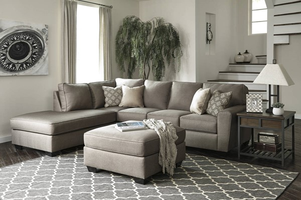 Ashley Furniture Calicho Cashmere LAF Chaise and Ottoman Sectionals CALICHO-VAR19