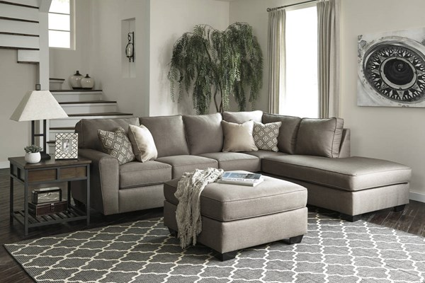 Ashley Furniture Calicho Cashmere RAF Chaise and Ottoman Sectionals CALICHO-VAR18