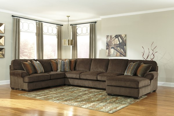 Denning Chocolate Fabric Sectional W Raf Chaise Amp Armless