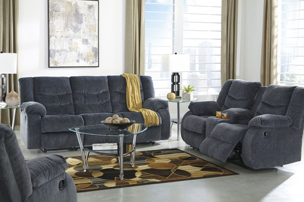 Garek Contemporary Blue Fabric 3pc Reclining Living Room Set 9200-LR-S1
