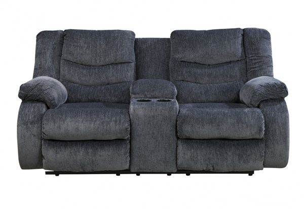Garek Contemporary Blue Fabric Double Recline Loveseats W/Console 9200-LS-VAR