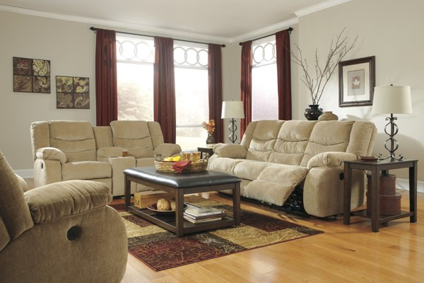 Garek Contemporary Sand Fabric 3pc Reclining Living Room Set 9200-LR-S3
