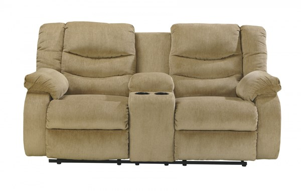 Garek Contemporary Sand Fabric Double Recliner Loveseat W/Console 9200294