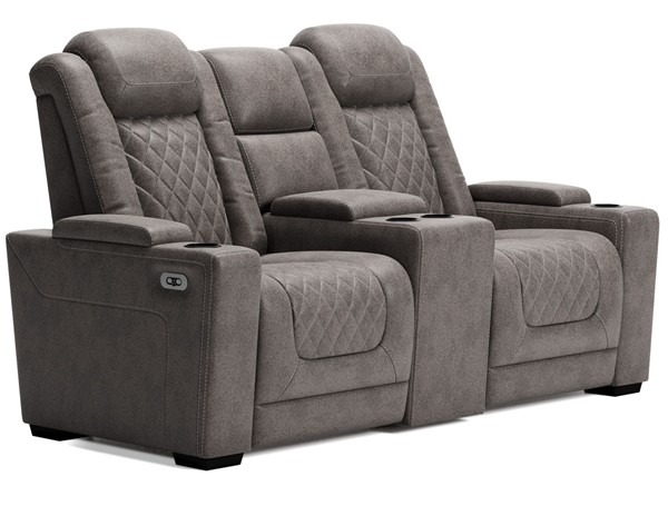 Ashley Furniture HyllMont Gray Power Reclining Loveseat With Headrest 9300318