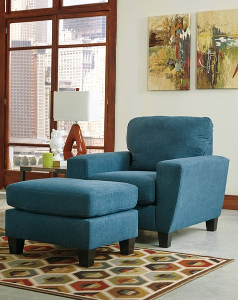 Ashley Furniture Sagen Teal Chair And Ottoman Set The
