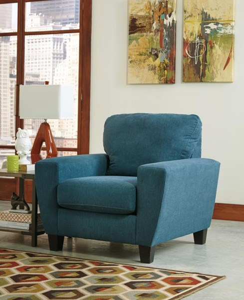 Sagen Contemporary Teal Fabric Track Arm Chair 9390220