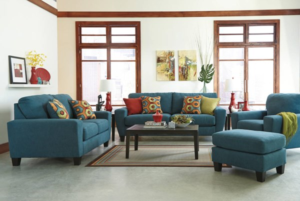 Sagen Contemporary Basil Teal Sienna Fabric 3pc Living Room Set 9390-LR-S
