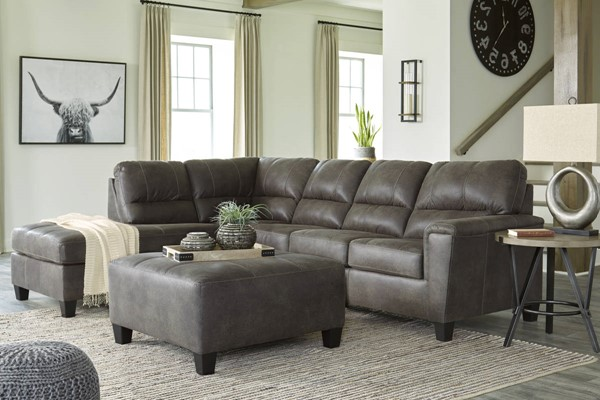 Ashley Furniture Navi Smoke LAF Sectionals With Ottomans 9400-SEC-VAR6