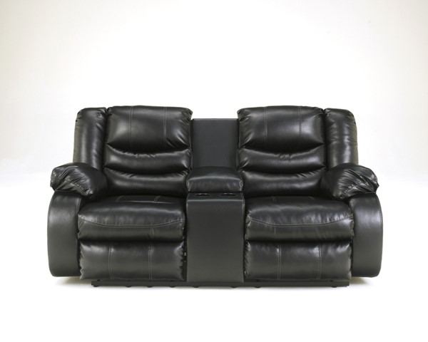 DuraBlend Black Leather PU Double Recliner Loveseat W/Console 9520294