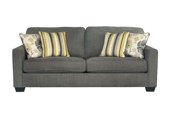 Safia Casual Slate Wood Fabric Cushion Back Sofa 9530138