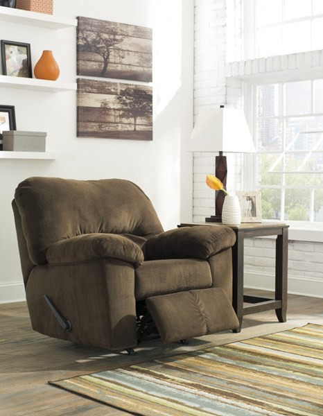 Dailey Contemporary Chocolate Fabric Rocker Recliner 9540325