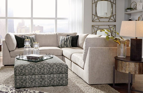 Ashley Furniture Kellway Bisque Sectional With Storage Ottoman 98707-SEC6