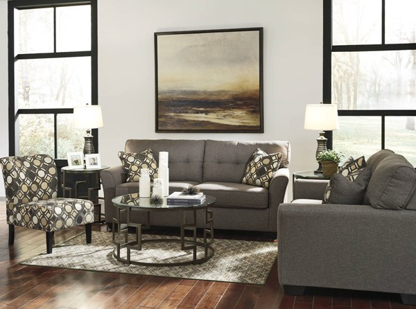 Tibbee Contemporary Slate Pebble Fabric Wood 3pc Living Room Set 99101-LR-S1