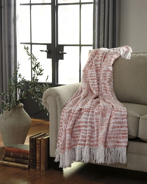 Cassbab Vintage Casual Coral Striped Throw (3/CS) A1000081