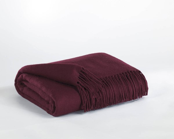 3 Ashton Casual Burgundy Fabric Throws A1000199