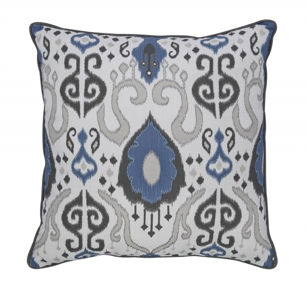 4 Damaria Traditional Blue Ivory Brown Fabric Down Pillows A1000230
