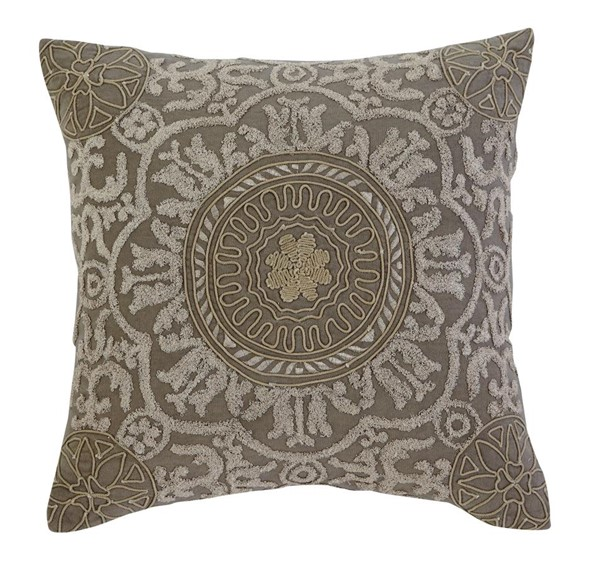 4 Medallion Traditional Dark Gray Fabric Pillow Covers A1000272