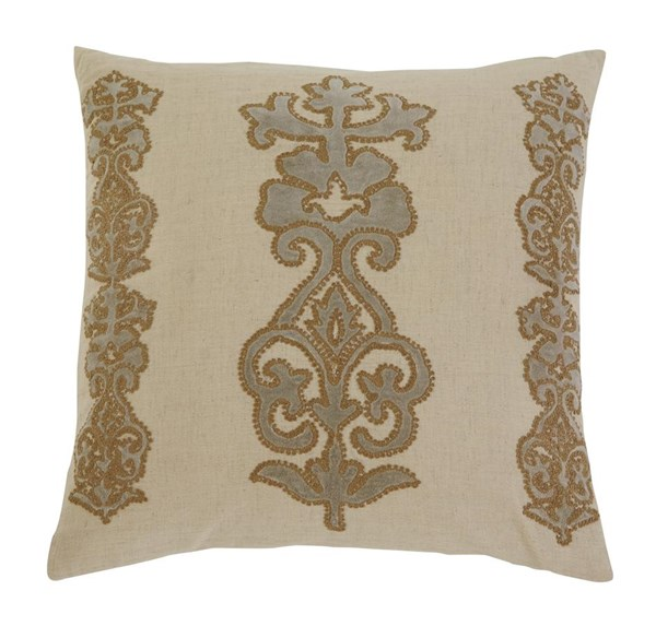 Applique Transitional Natural Pillow Covers A1000273-VAR