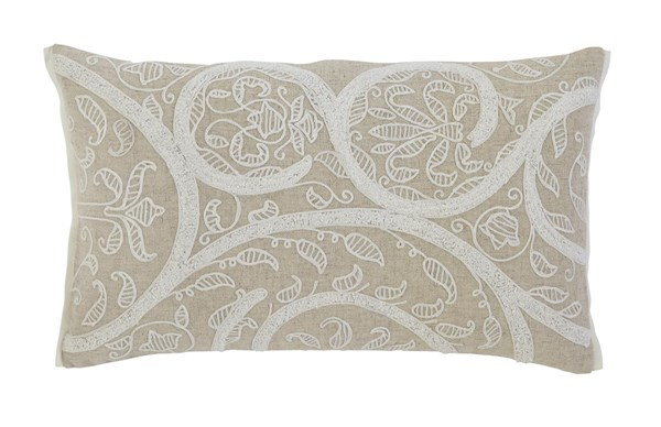 Embroidered Traditional Natural Rectangle Pillow A1000287P