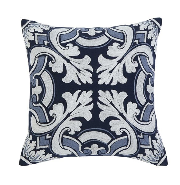4 Medallion Casual Navy Gray Fabric Square Pillows A1000289