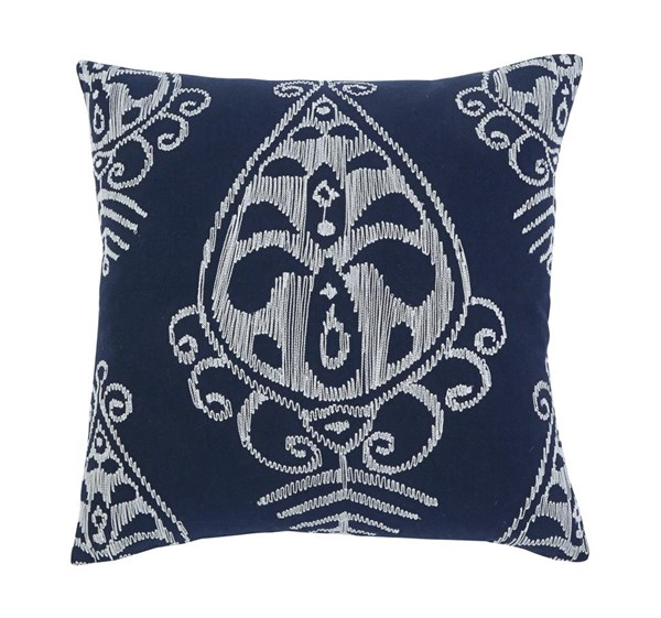 Embroidered Vintage Casual Navy Pillow Cover A1000291P