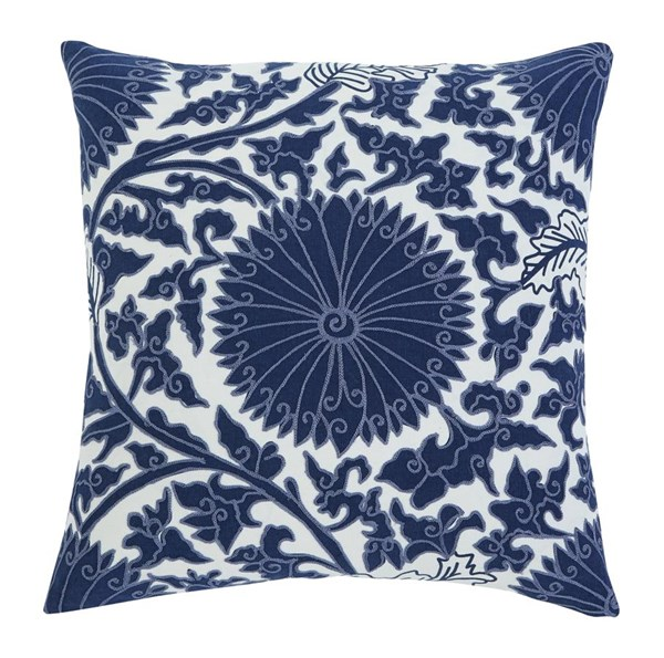 4 Medallion Vintage Casual Navy Fabric Pillow Covers A1000293