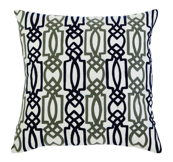 Embroidered Casual Navy Square Pillow A1000294P