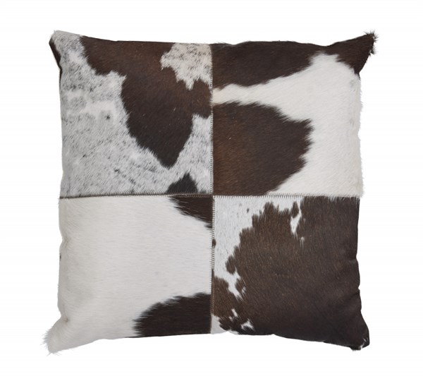 Tegan Contemporary Dark Brown White Black Leather Poly Pillow A1000306P